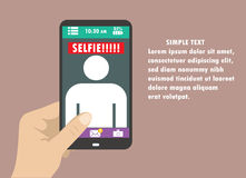 Selfie flat design illustration with hand and mobile phone Stock Photo