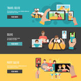Selfie flat interactive horizontal banners set Stock Images