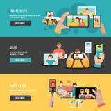 Selfie flat interactive horizontal banners set Stock Images
