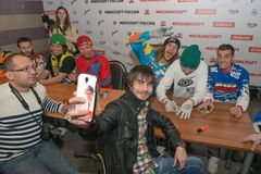 Selfie with FMX riders Stock Images