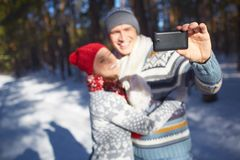 Selfie in the forest Royalty Free Stock Photography