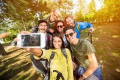 Selfie in forest Stock Photo