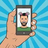 Selfie fotoman på smartphonen med djura beståndsdelar för framsidamaskering - öron och näsa Komikerillustration i stil för popkon