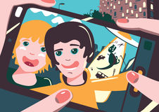 Selfie. Friends are taking photo themselves. Friends are taking photo themselves on the smartphone royalty free illustration