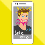 Selfie of funny guy with hand drawings Royalty Free Stock Photography