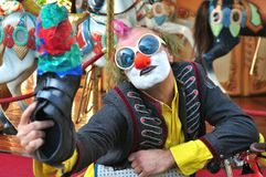 Selfie of a funny street artist in Florence , Italy Royalty Free Stock Image