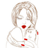 Selfie. Girl with a smartphone in the hands making selfie in a retro style on a white background Stock Photo