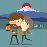 Selfie with girlfriend in japan Royalty Free Stock Photo