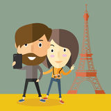 Selfie with girlfriend in Paris. Adult beautiful camera cartoon cute design face girl hipster illustration lifestyle love male man mobile people person phone Royalty Free Stock Photography