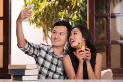 Selfie with girlfriend Royalty Free Stock Images