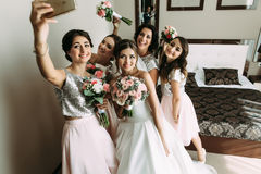 Selfie of the girls with bride before wedding. A stock image