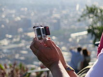 Selfie with a gopro camera Royalty Free Stock Photography