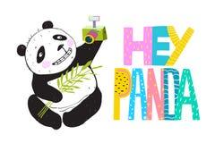 Selfie Grappig Panda Smiling stock illustratie