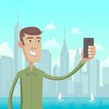 Selfie in grote Stad Vector Illustratie