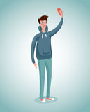 Selfie. Guy is taking photo of himself with phone. Cartoon illustration Stock Photography