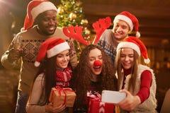 Selfie of happy friends Stock Photos