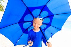 Selfie of happy little boy with umbrella on rainy Royalty Free Stock Images