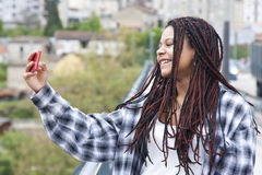 Selfie. Happy woman selfie with mobile phone Stock Photo