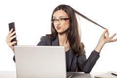 Selfie in het bureau Stock Afbeelding
