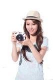 Selfie heureux de jeune fille de voyage Photo libre de droits