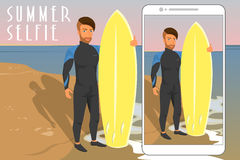 Selfie of hipster wearing diving suit with yellow Royalty Free Stock Image