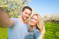 Selfie, homem, mulher, par, amigos imagens de stock