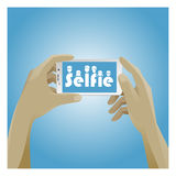 Selfie Icon with smart phone Royalty Free Stock Image