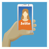 Selfie Icon with smart phone, photo woman end hand Royalty Free Stock Photo