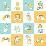 Selfie icons flat line Royalty Free Stock Images