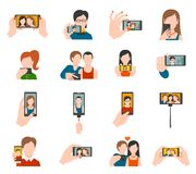Selfie Icons Flat Stock Images