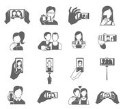 Selfie Icons Set Stock Photography