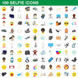 100 selfie icons set, cartoon style. 100 selfie icons set in cartoon style for any design vector illustration Royalty Free Stock Photography