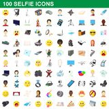 100 selfie icons set, cartoon style. 100 selfie icons set in cartoon style for any design illustration royalty free illustration