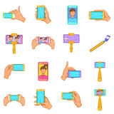 Selfie icons set, cartoon style Stock Images