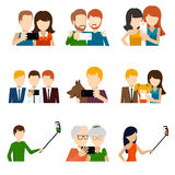 Selfie icons set in flat design style. Camera and phone, people and friend,  memory and photograph pose. Vector illustration Stock Photos