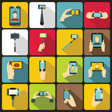 Selfie icons set, flat style Royalty Free Stock Photos