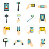 Selfie icons set, flat style Royalty Free Stock Photography
