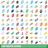 100 selfie icons set, isometric 3d style. 100 selfie icons set in isometric 3d style for any design vector illustration Royalty Free Stock Photo