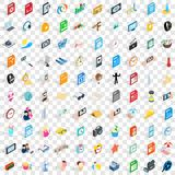 100 selfie icons set, isometric 3d style. 100 selfie icons set in isometric 3d style for any design vector illustration Stock Photography