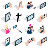 Selfie icons set, isometric 3d style Royalty Free Stock Photography
