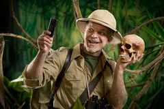 Selfie in the jungle with skull Royalty Free Stock Photo