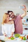 Selfie in the kitchen Stock Photos