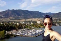 Selfie kobiety podróż Penticton zdjęcia stock