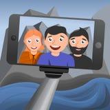 Selfie-Konzepthintergrund, Karikaturart stock abbildung