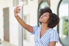 Selfie-Kuss Stockfoto