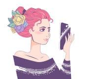 Selfie kvinna Skissa vektorn cartoon Isolerad konst royaltyfri illustrationer