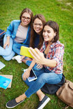 Selfie on lawn Royalty Free Stock Photo