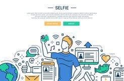 Selfie - linje designwebsitebaner stock illustrationer