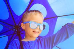 Selfie of little boy with umbrella on rainy summer Royalty Free Stock Photos