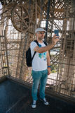Selfie man inside the Eiffel Tower Royalty Free Stock Images